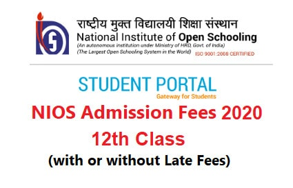 NIOS Admission Fees 12th Class