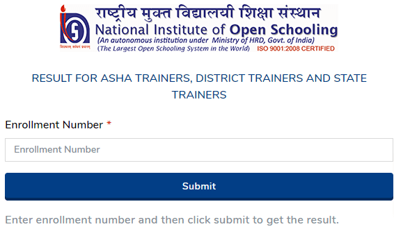 NIOS ASHA Trainers Result 2021